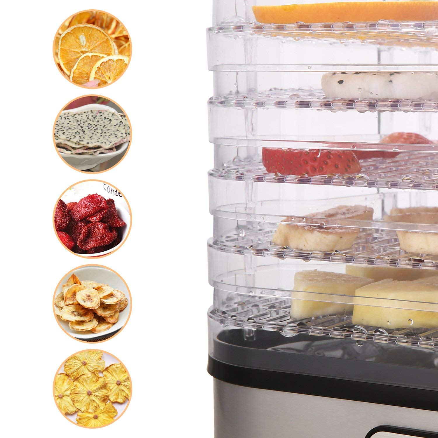 Food Dehydrator Machine by Electricity,5 Trays/Knob Button/250W/Temperature adjustable(95-158℉) by Homdox (Image #2)