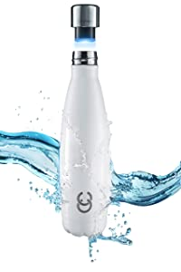 CrazyCap UV Water Bottle Purifier - For Water Purification + Self Cleaning Bottle - Safely Drink Water from Tap, Streams, International Travel - Includes Premium CC Stainless Steel Insulated Bottle