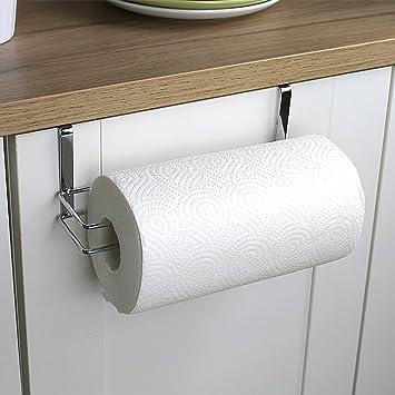 Toalla de papel soporte para colgar de cocina, armario, acero inoxidable: Amazon.es: Hogar