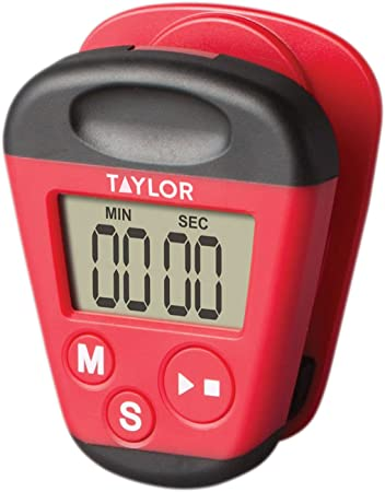 Taylor Precision Products 5875 Kitchen Clip Digital Timer, 3X 7X 9, Red