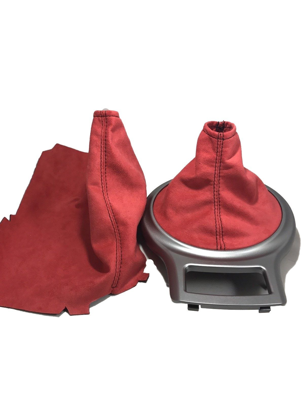 For 13-17 Subaru BRZ/Scion FRS/Toyota 86 Shift and E Brake Boots Red Suede Black Stitch