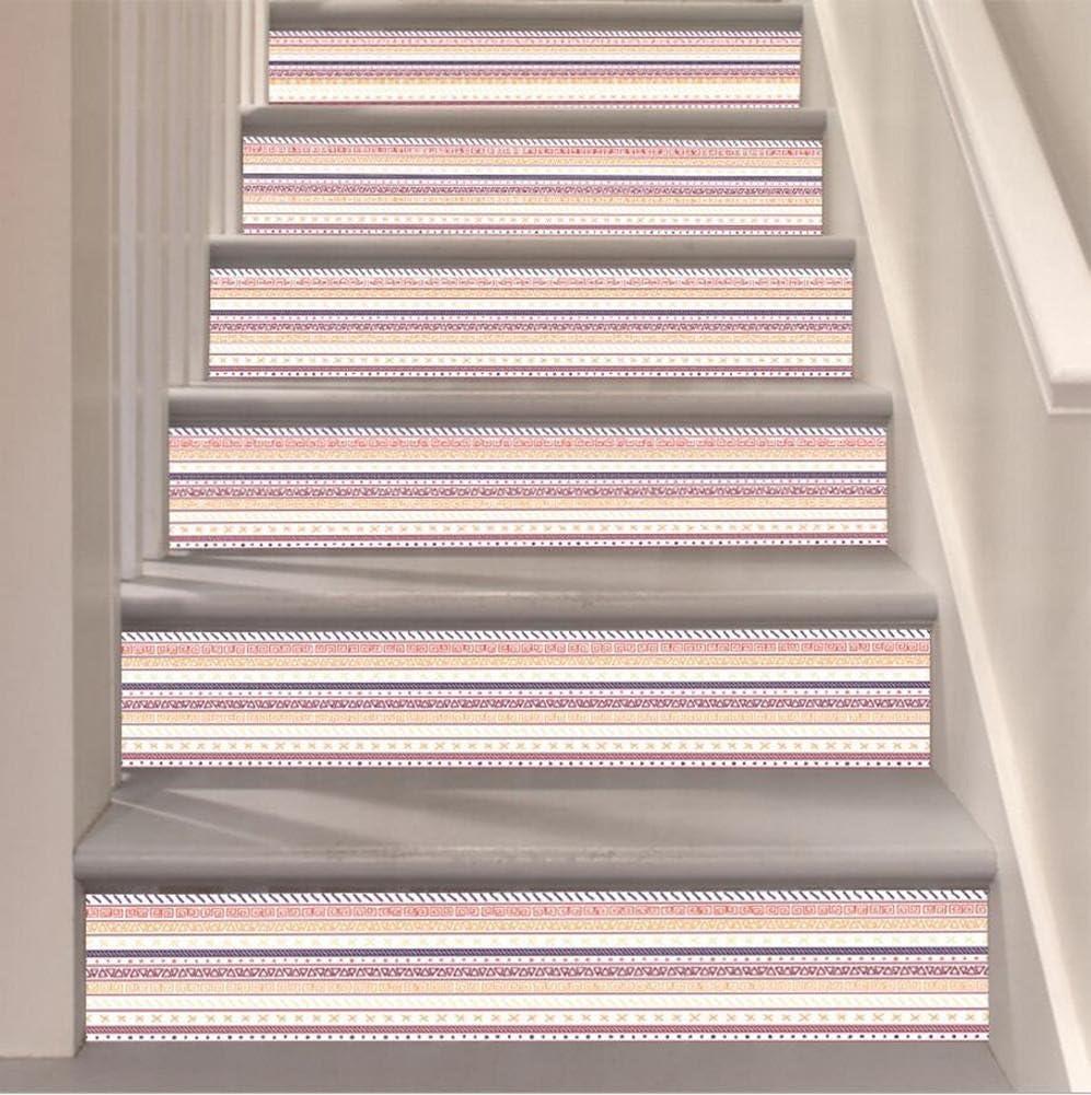 Etiqueta engomada de la escalera Etiquetas engomadas rayadas del PVC de DIY 3D Pegatinas decorativos caseros de la pared del estilo nacional Escalera impermeable Especificaciones (2pc) , 18*116cm*6pcs: Amazon.es: Hogar
