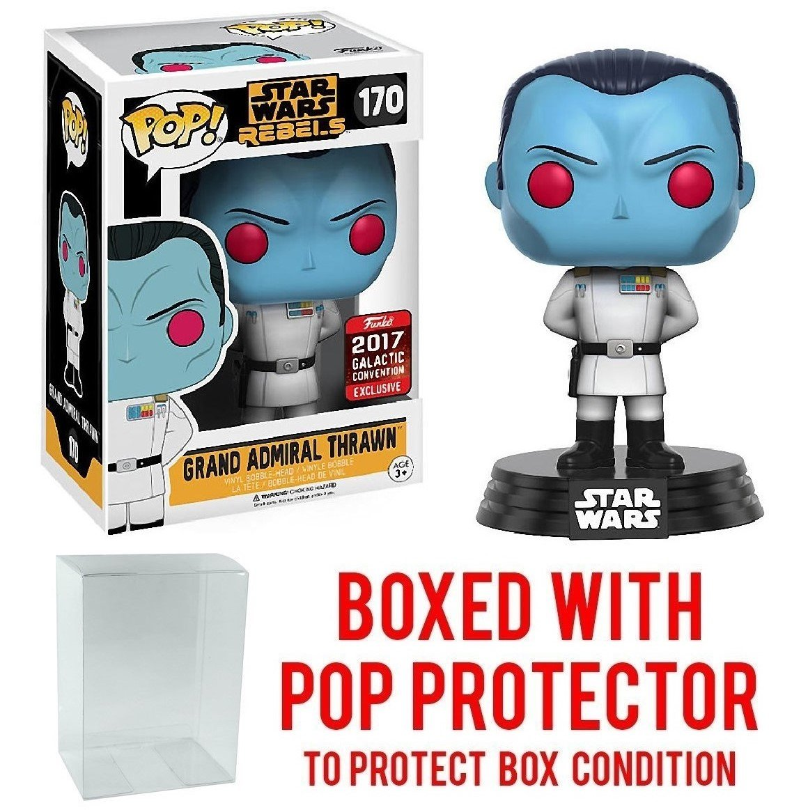 Funko Pop! Star Wars - Grand Admiral Thrawn 2017 Star Wars Galactic Convention Exclusive Vinyl Figure (Bundled with Pop BOX PROTECTOR CASE)