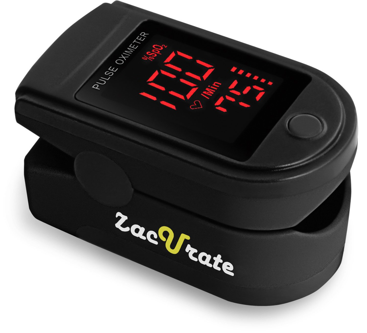 Zacurate Pro Series 500DL Fingertip Pulse Oximeter Blood Oxygen Saturation Monitor with silicon cover, batteries and lanyard (Mystic Black) Acc U Rate 10430-BKO