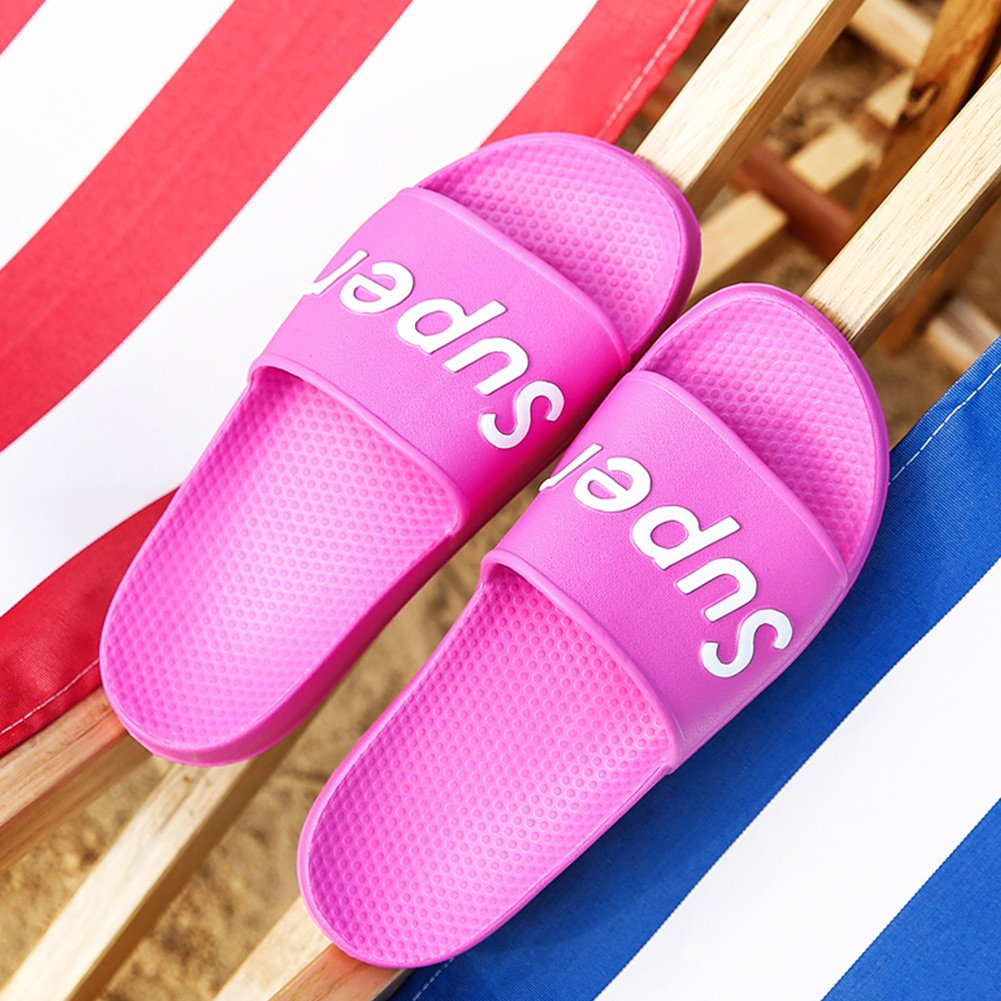 FiveStoresCity Womens Mens Slide Sandals Non-Slip House Slippers Waterproof Quick Dry Shower Shoes Red