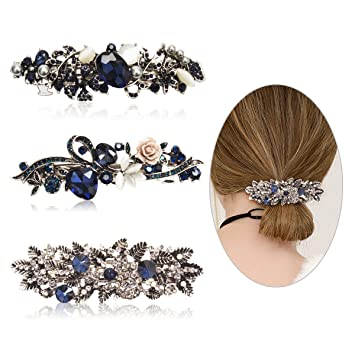 f734f01437a5c Amazon.com : Cubaco 3 Pack Crystal Rhinestones Barrettes French Hair Clip  French Clip Flower Design Hair Clips Barrette Bridal Wedding Formal Event  Jewelry ...