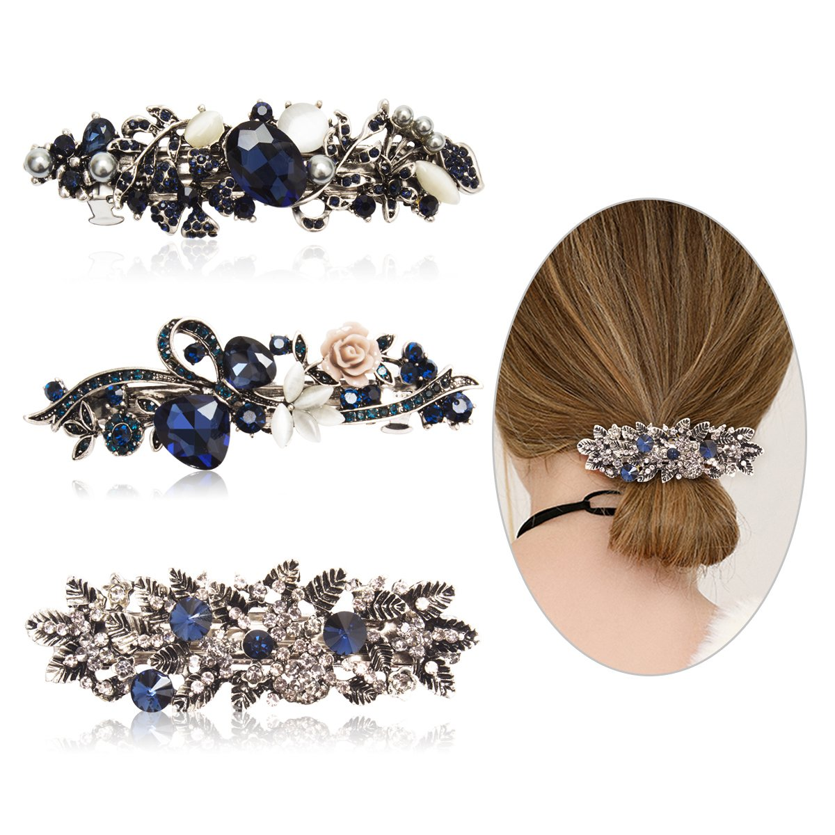 Cubaco 3 Pack Crystal Rhinestones Barrettes French Hair Clip French Clip Flower Design Hair Clips Barrette Bridal Wedding Formal Event Jewelry Accessory for Women Girls