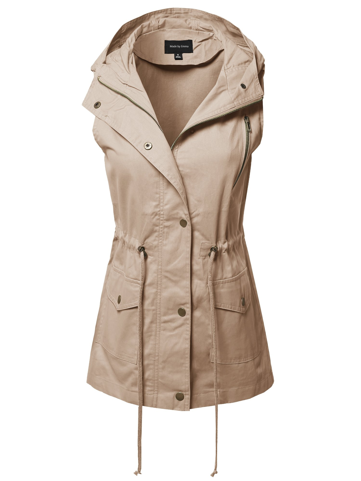 Made by Emma CasualZipper with Snap Button Closure Military Drawstring Hoodie Vest Khaki L