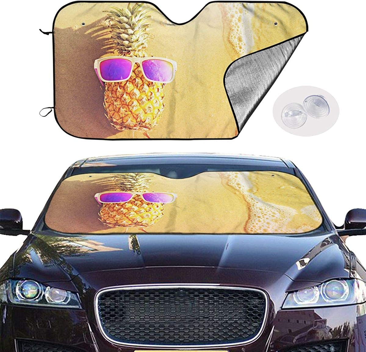 Sunshade to Keep Your Vehicle Cool Fits Windshields of Various Sizes Blocks UV Rays Sun Visor Protector 51.2x27.5 in ZJBLHEQ Paint America Flag Car Windshield Sun Shade
