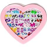 Ensemble 36 Paires Boucles d'oreille Clou Cristal Enfant Chaton Fleur Chat Fille Enfant Fête Anniversaire Cadeau en Boite en Forme de Cœur Rose