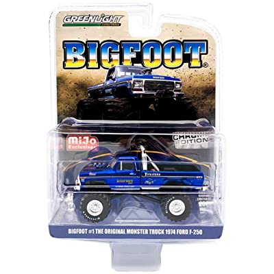 Greenlight 1/64 Bigfoot #1 The Original Monster Truck 1974 Ford F-250 Monster Truck (Blue) Chrome Edition 51281: Toys & Games