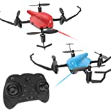 Holy Stone HS177 RC Battle Drones with Infrared Emission RTF Quadcopter with 2.4GHz 4 Channel 6-Axis Gyro and Altitude Hold Function, Headless Mode and Emergency Stop, Color Red and Blue, Quantity 2