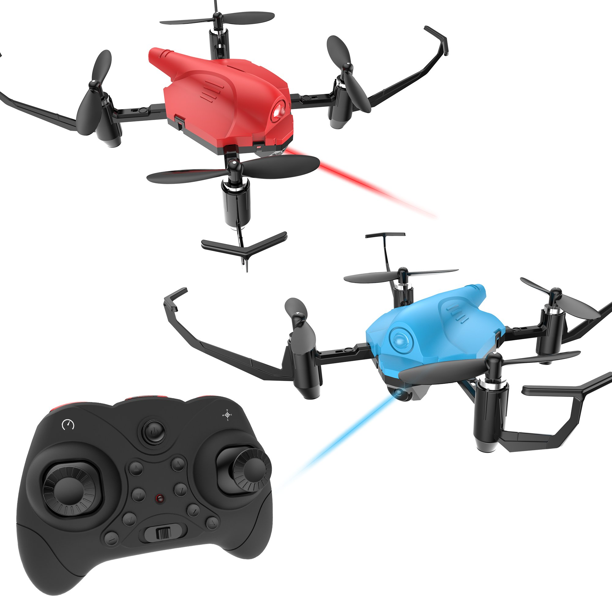 Holy Stone HS177 RC Battle Drones with Infrared Emission RTF Quadcopter with 2.4GHz 4 Channel 6-Axis Gyro and Altitude Hold Function, Headless Mode and Emergency Stop, Color Red and Blue, Quantity 2 by Holy Stone