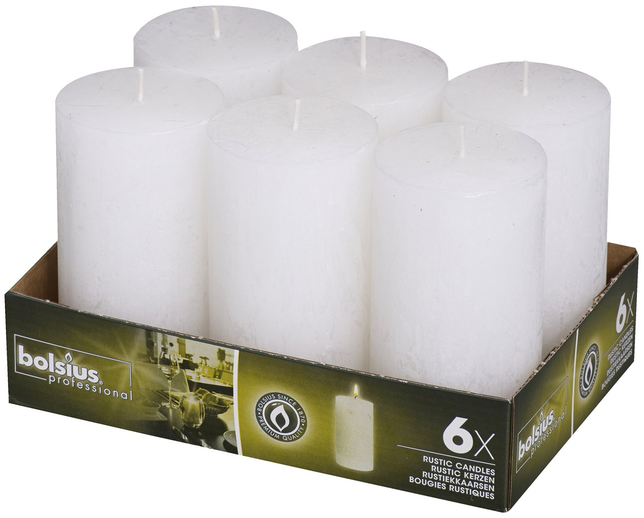 Bolsius 6 Pk. Rustic White Pillar Party Wedding Candles 130 X 68mm (Aprox. 5 X 2.75 Inches) by Bolsius