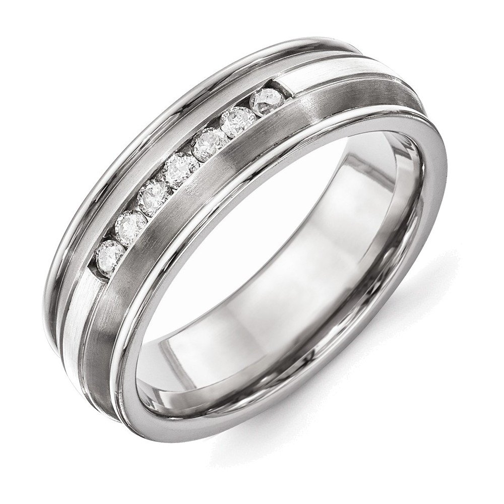 Titanium with Sterling Silver Inlay Polished 1/4ct. tw. Diamond Band Size 11.5 by Jewelry Adviser Rings