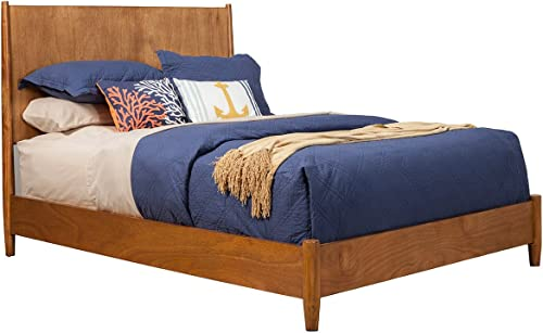 Alpine Furniture Mid Century Platform Bed Queen Acorn