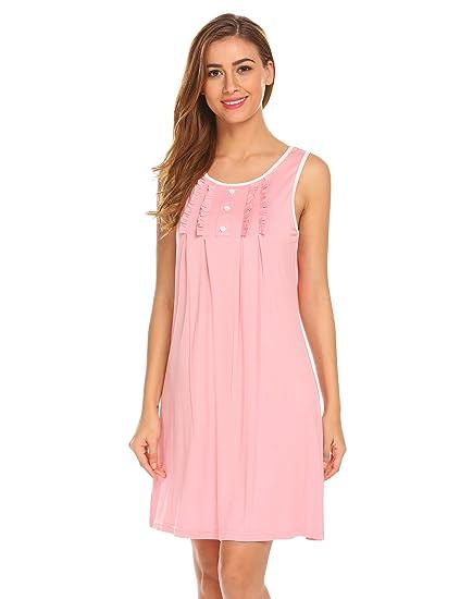 b54dff4b83 Hotouch Womens Cotton Sleeping Gowns Short Sleeveless Sleepwear, B-Misty  Rose, Small