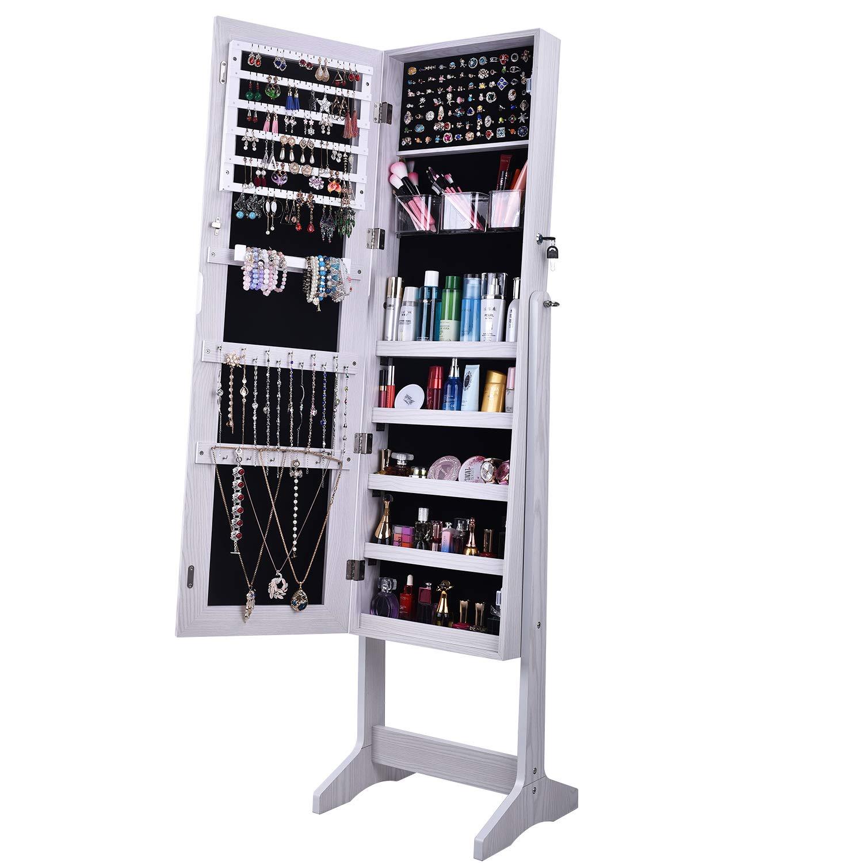White NSDCA-QH-6150 SogesHome Jewelry Armoire Free Standing with Mirror Jewelry Cabinet Jewelry Holder Organizer Storage Mirrored Dressing Storage