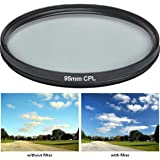HDStars 95MM Multi Coated Circular Polarizer (CPL) Filter For Tamron 150-600mm, Bower, Rokinon, Samyang, Vivitar 650-1300mm Telephoto Zoom, 500mm F/6.3 Mirror (T-Mount) Lens
