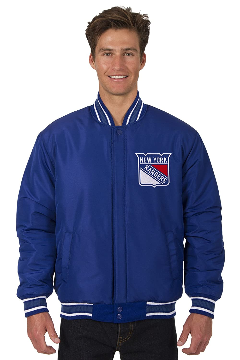 New York Rangers Hockey Jacket Wool Nylon Royal Blue Reversible Embroidered Logos