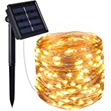 AMIR Solar Powered String Lights, 100 LED Copper Wire Lights, Starry String Lights, Indoor/ Outdoor Waterproof Solar Decoration Lights for Gardens, Home, Dancing, Party Decorative Ornaments (Warm White)