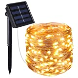 AMIR Solar Lichterkette, 33ft 100 LED Solar Lichterkette Weihnachten, Solar-Kupferdraht Lichterketten, Garten Außen Warmweiß, Solar Beleuchtung Kugel für Party, Weihnachten, Outdoor, Fest Deko usw.