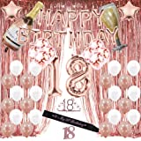 Rose Gold 18th Birthday Decorations for Girl,18 Birthday Party Supplies Include Foil Fringe Curtains, Happy Birthday…