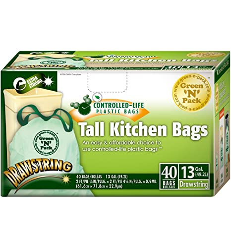 Amazon.com: green-n-pack Tall Cocina Bolsas de basura – 13 ...