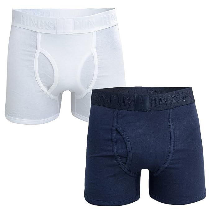 b7dbcabb431 Ringspun Mens Mens 2 Pack Boxer Shorts in Navy-White - L: Ringspun:  Amazon.co.uk: Clothing