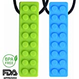 Sensory Chewy Necklace for Boys & Girls | IMPROVED DESIGN | 2-Pack (Blue & Green) - Perfect for Autistic, ADHD, SPD, Oral Motor Children Kids - Sensory Teether - By Lull Kids