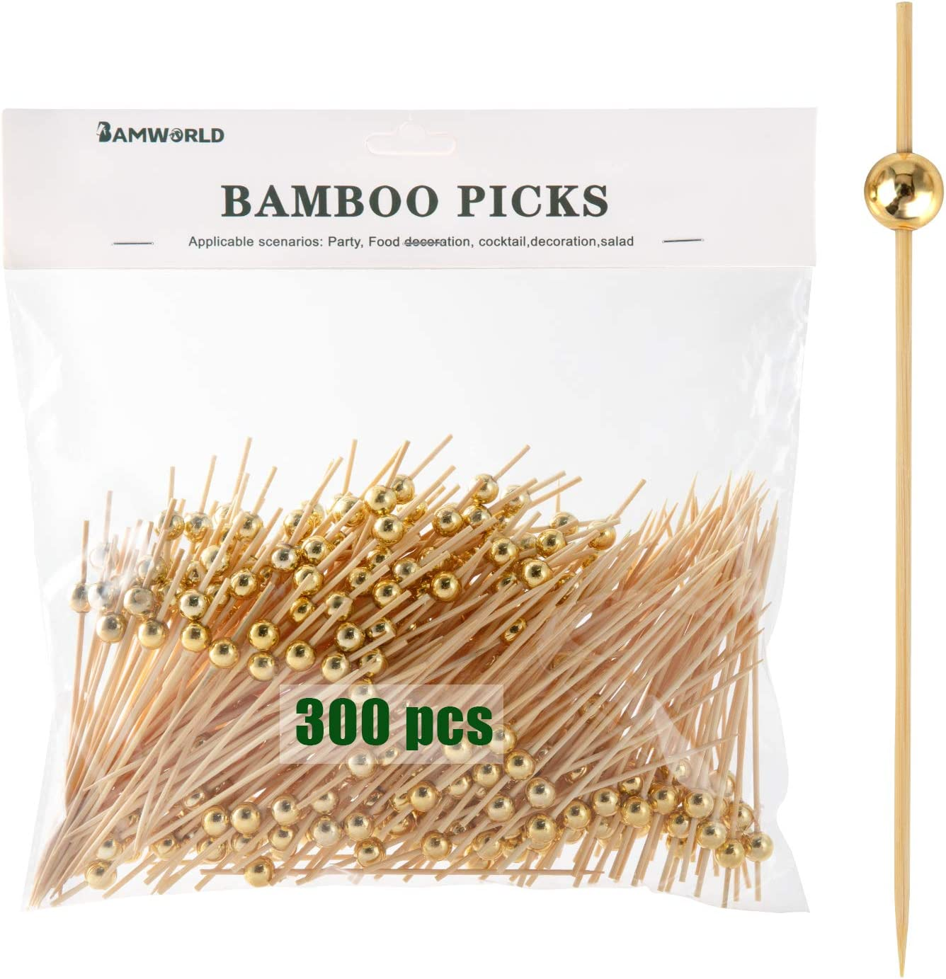 Bamboo Cocktail Picks Bamboo Skewers Appetizer Picks 4.7 Inch Food Picks with Handmade Design Skewers for Party Fruit and Food Snacks (Gold, 300)