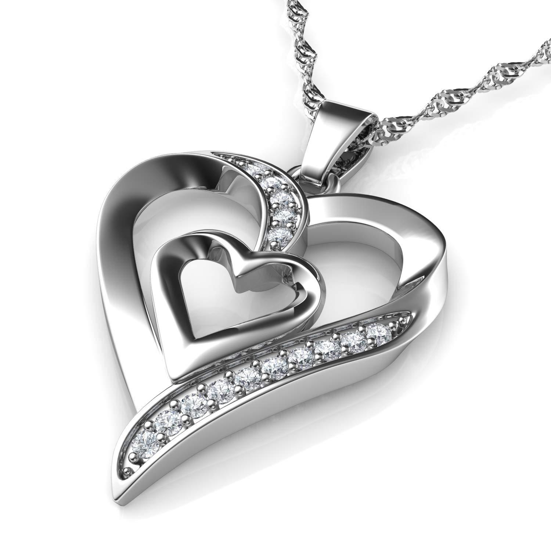 DEPHINI Collar plata corazon colgante corazon Plata de ley con circón colgantes