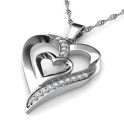 DEPHINI - Collar plata corazon - colgante corazon Plata de ley 925 con circón - colgantes mujer regalo mujer cumpleaños originales - regalo amor para ...
