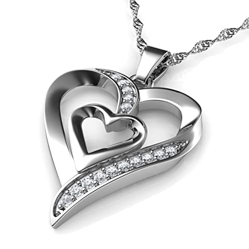 c9d824dccd8f DEPHINI - Collar plata corazon - colgante corazon Plata de ley 925 con  circón - colgantes