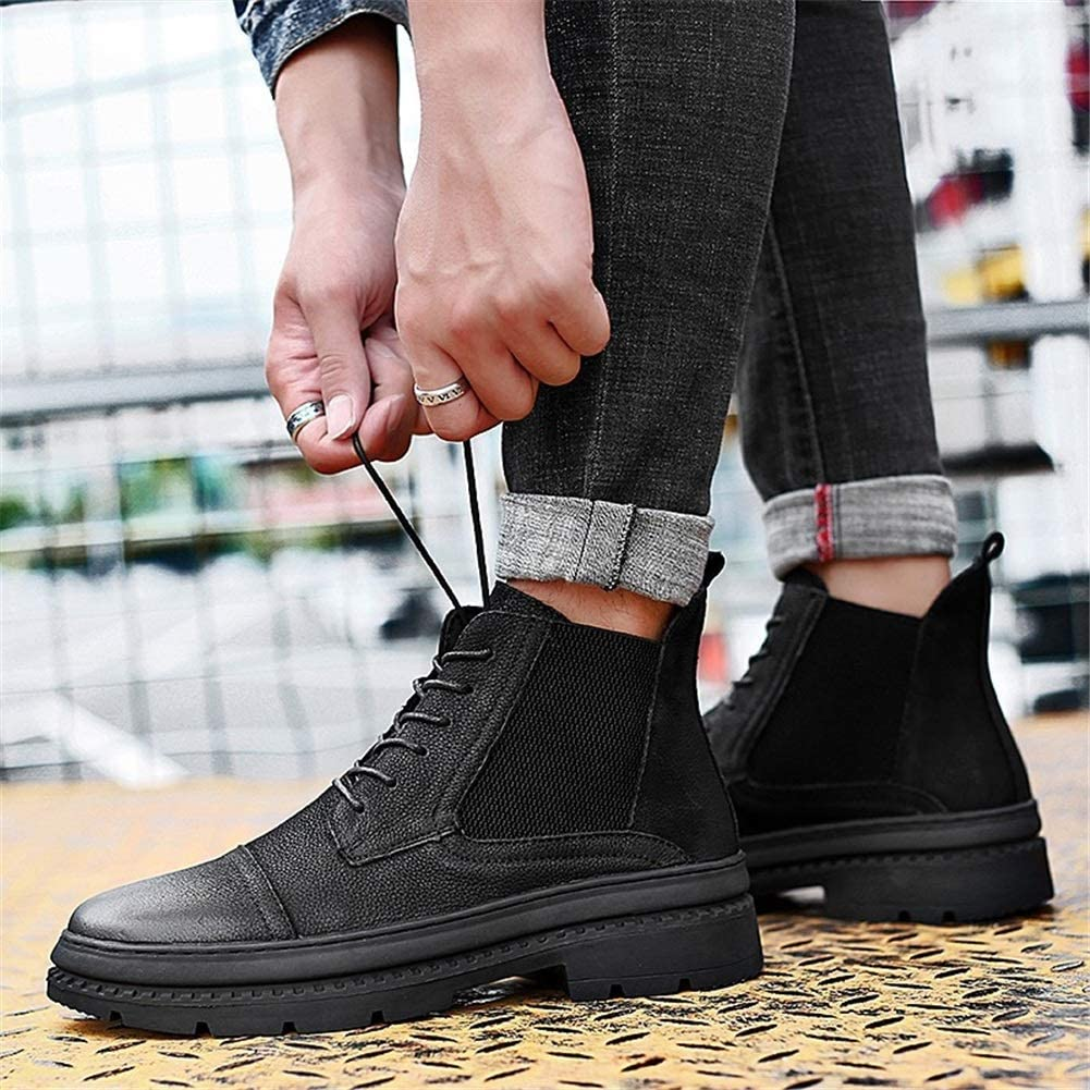 Exing Mens Boots Martin Boots Fall New Mens Fashion Casual Leather Booties Retro Mens Ankle Boots