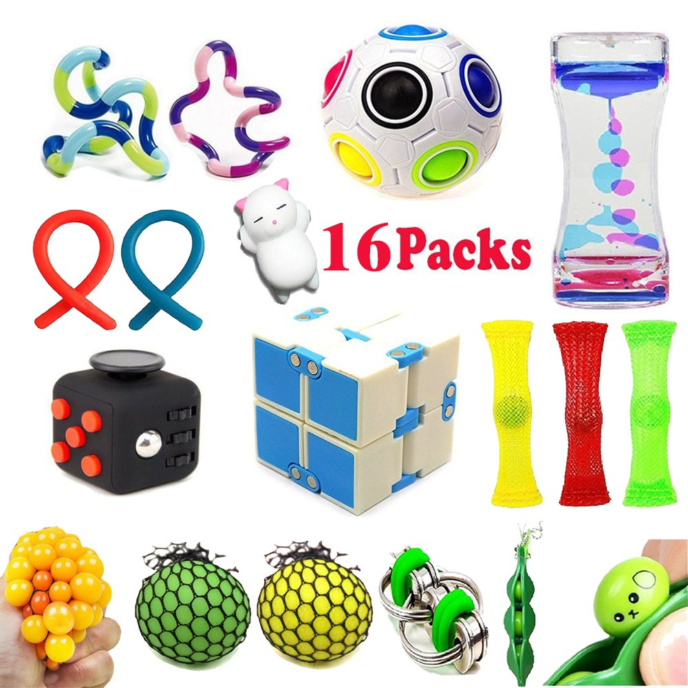 Sensory Fidget Toys Bundle(16 Pack),Stress Relief Fidget Hand Toys- Fidget Cube/Soybeans/Squeeze Grape Ball/Bike Chain/Liquid Motion Timer/Rainbow Magic Balls/Twisted Fidget Toys-Perfect for ADD/ADHD