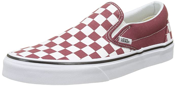 Vans Classic Slip Schuhe Unisex Damen Herren Erwachsene Rot Weiß Kariert