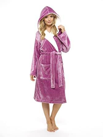 CityComfort® Luxury Dressing Gown Ladies Super Soft Robe with Fur Lined  Hood Plush Bathrobe for Women (Pink   Purple)  Amazon.co.uk  Clothing 6234c6cb0