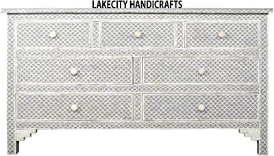Bone Inlay Chest of 7 Drawer with Fish Scale Design in Grey color
