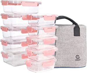 [10 Pack] Glass Meal Prep Containers, Food Storage Containers with Lids Airtight, Glass Lunch Boxes with Bag