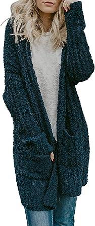 Women Fashion Causal Color Block Open Front WarmKnit Long Cardigan Sweater Coat