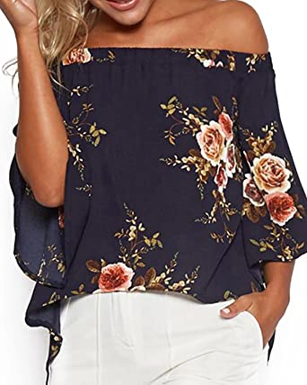 f3d1bce70d YOINS Women Tops Random Floral Print Off Shoulder Splited Blouses Casual  Summer 3 4 Length
