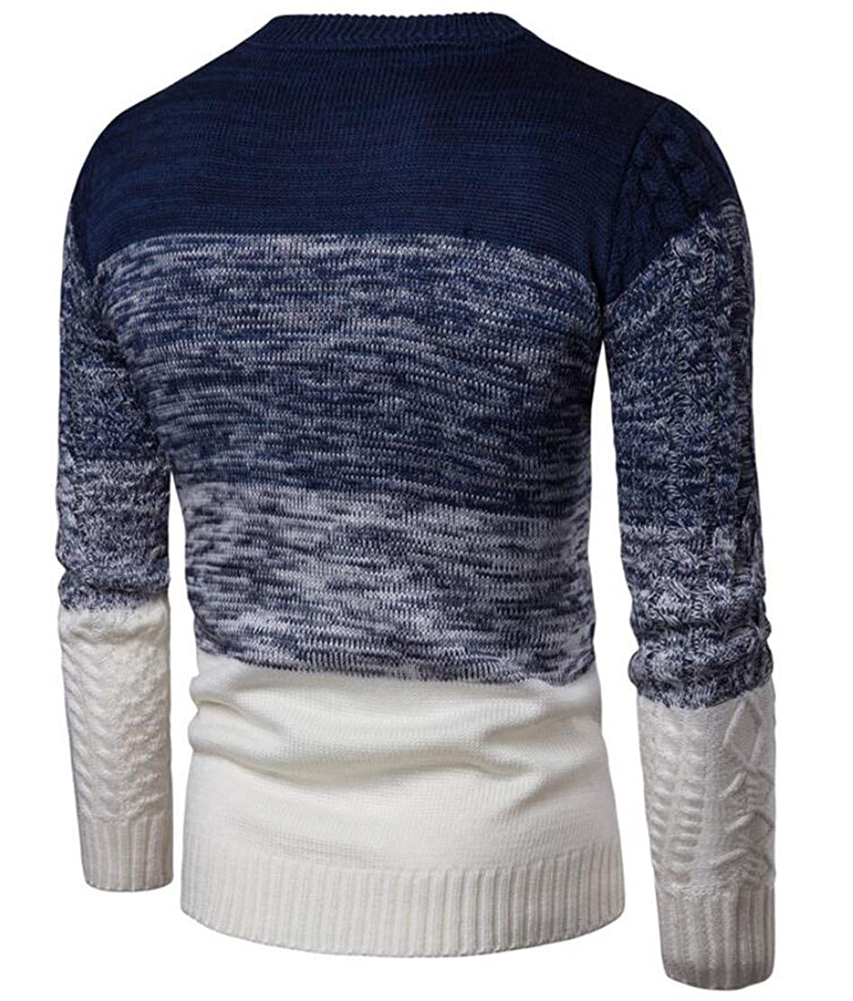 X-Future Mens Casual Long Sleeve Round Neck Color Block Knitted Pullover Sweater