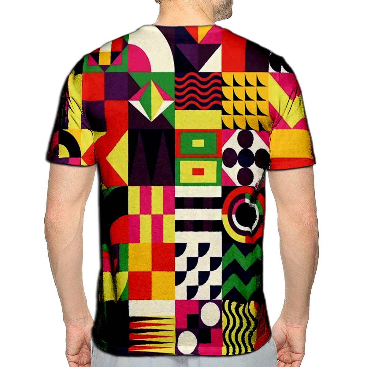 YILINGER 3D Printed T-Shirts Contemporary Geometric Mosaic with Vibrant Color Scheme Repeat Short Sleeve Tops Tees