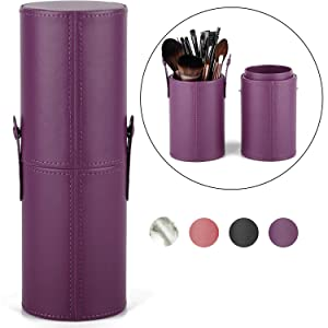 Makeup Brush Holder Travel Brushes Case Bag Cup Storage Dustproof for Women and Girls (Y-Purple)