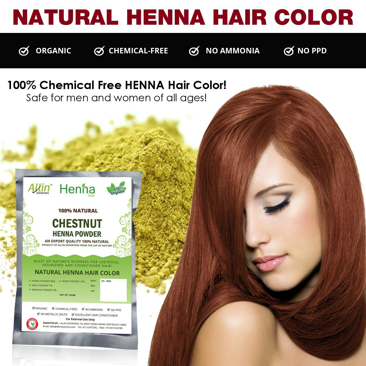 Amazon Com Allin Exporters Black Henna Hair Color 100 Organic