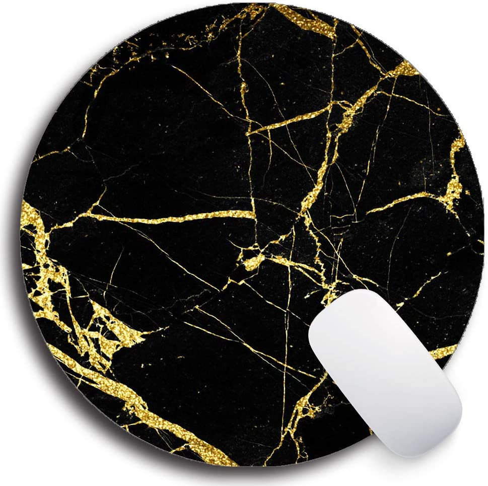 SHrui Gaming Office Mouse pad,Anti-Slip Natural Rubber Mouse pad, Round Personalized Custom Mouse pad for Desktop, Computer, Laptop - Black Gold Marble