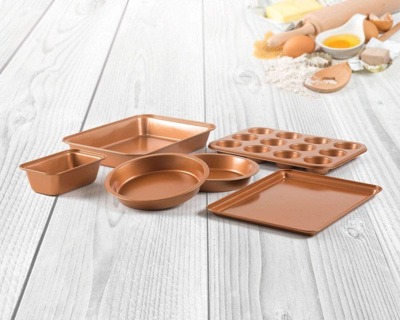 II298 Copper Ceramic Bakeware 6 Piece Non-Stick,Bakeware Set BPA FREE