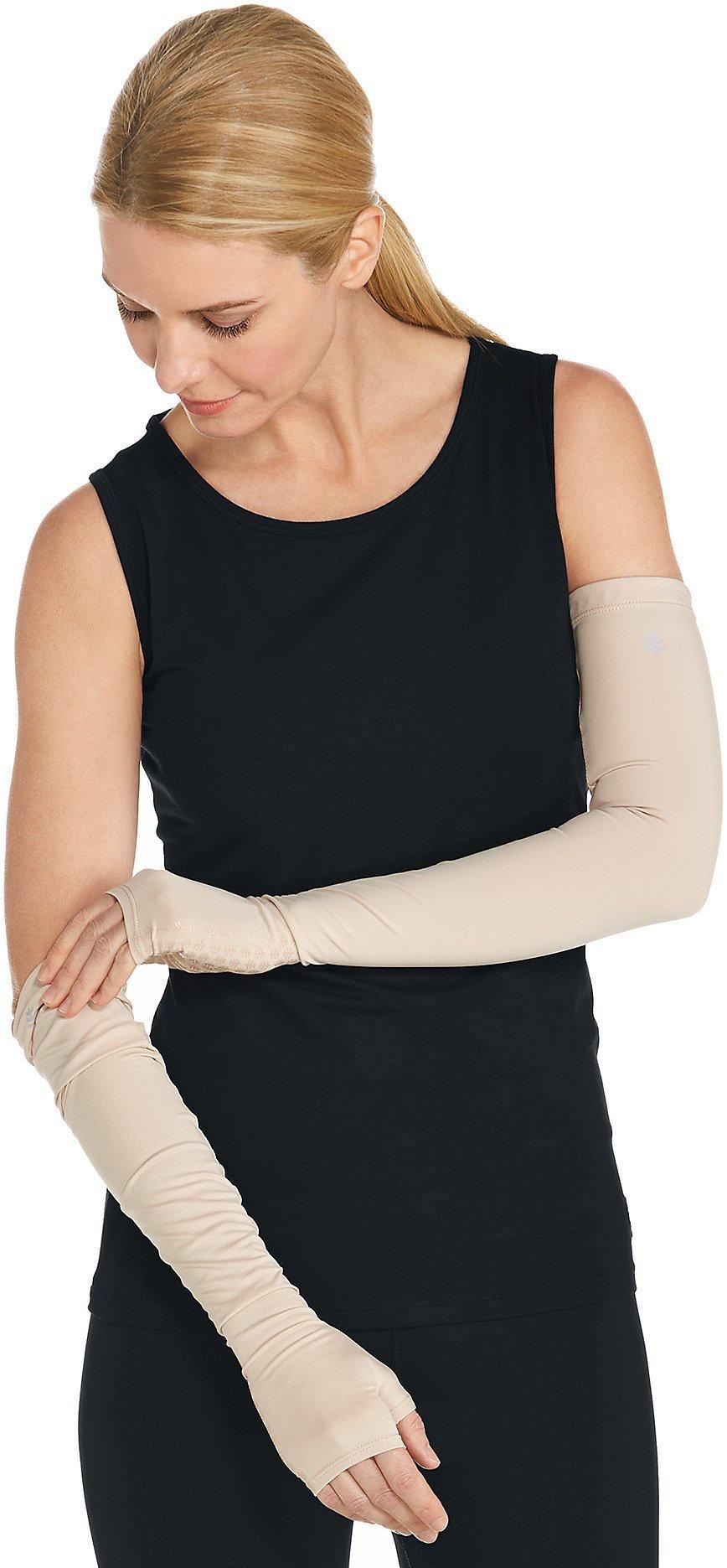 Coolibar UPF 50+ Unisex UV Protection Sleeves - Sun Protective (Medium- Beige)