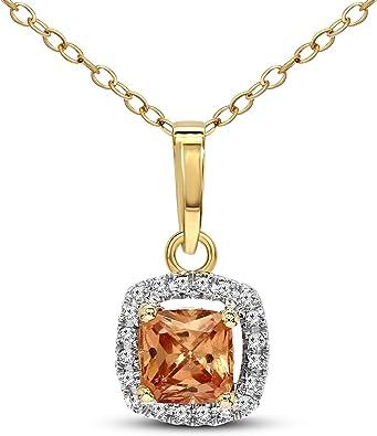 10kt Yellow Gold Womens Round Diamond Square Pendant 16 Cttw